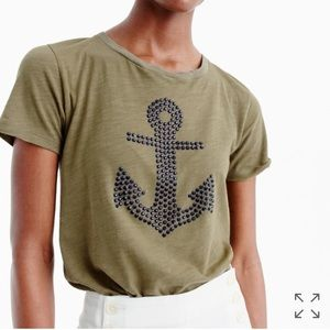 J. Crew Embellished Anchor Tee